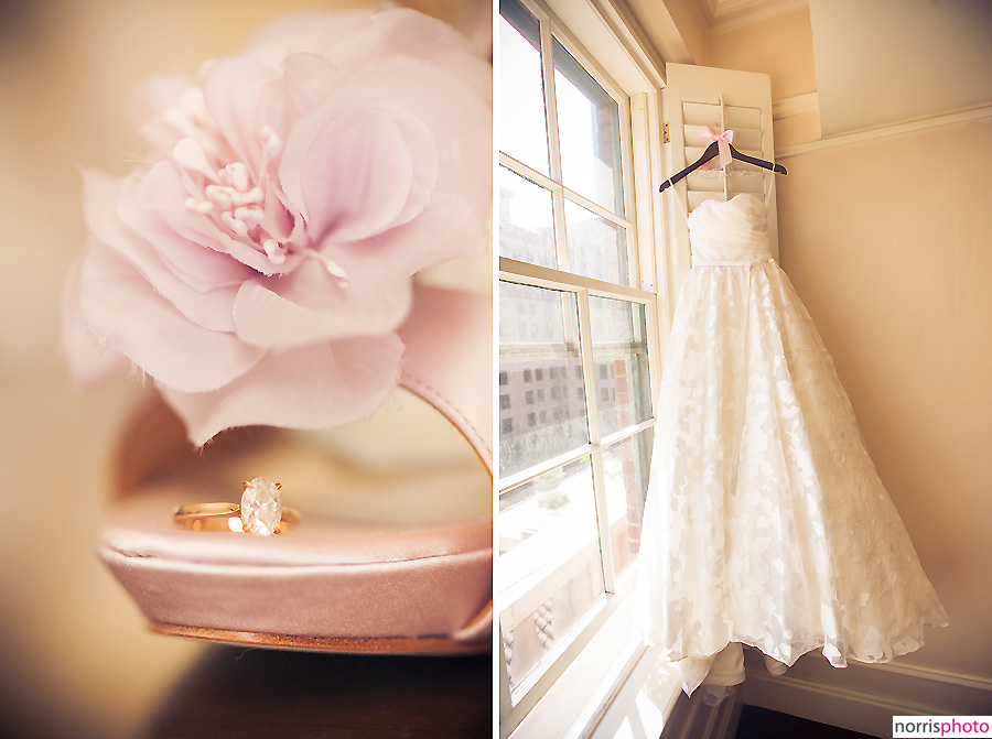 wedding dress and shoes with flower petals