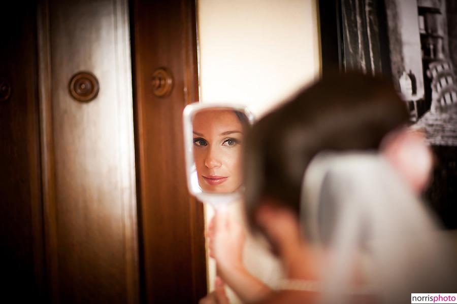 oviatt penthouse wedding bride looking in mirror